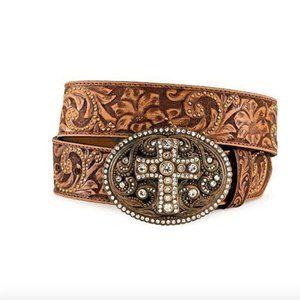 Justin Hand Tooled Rhinestone Cross Leather Belt